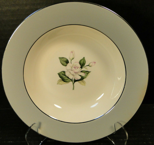 "Homer Laughlin HLC342 Soup Bowl 8 1/4"" Grey Band Pink Flowers 