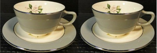 Homer Laughlin HLC342 Tea Cup Saucer Sets Grey Band Pink Flowers 2 Excellent