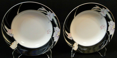 "Mikasa Charisma Black Soup Bowls 8 3/8"" L 9050 Japan Rimmed Set of 2 Excellent"