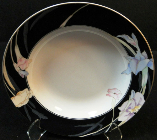 "Mikasa Charisma Black Soup Bowl 8 3/8"" L 9050 Japan Rimmed Excellent"