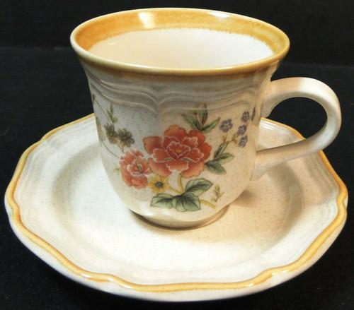 Mikasa Silk Bouquet Tea Cup Saucer Set EC 463 Garden Club Excellent