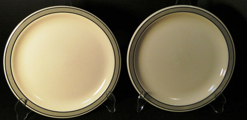 """Buffalo China Restaurant Ware Lunch Plates 9 1/4"""" Gray Band Set of 2 Excellent"""
