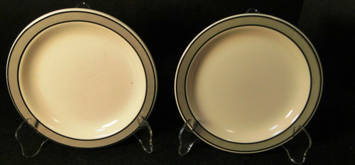 "Buffalo China Restaurant Ware Bread Plates 6 1/2"" Gray Band Set of 2 