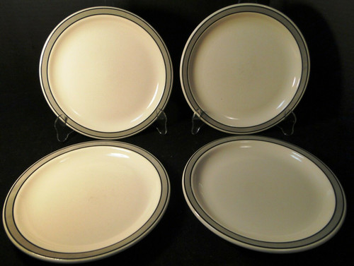 """Buffalo China Restaurant Ware Lunch Plates 9 1/4"""" Gray Band Set of 4 Excellent"""
