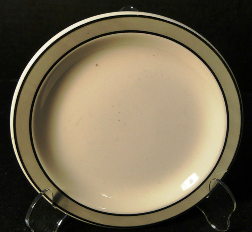 "Buffalo China Restaurant Ware Bread Plate 6 1/2"" Gray Band Excellent"
