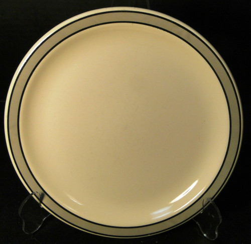"""Buffalo China Restaurant Ware Lunch Plate 9 1/4"""" Gray Black Band Excellent"""