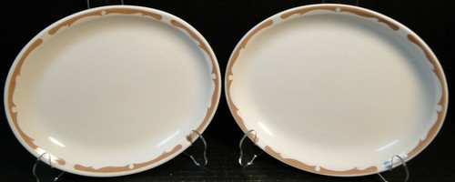 """Buffalo China Restaurant Ware Oval Platters 9 1/2"""" Brown Scroll Set 2 Excellent"""