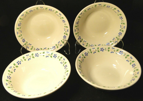 "Iroquois Periwinkle Cereal Bowls 6"" Henry Ford Museum Collection Set 4 Excellent"