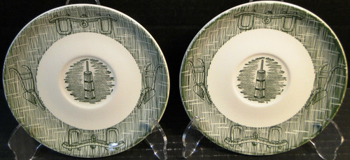 """SCIO Currier Ives Green Saucers 6"""" Yoke & Plow Set of 2 