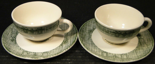 Scio Currier Ives Green Tea Cup Saucer Sets Yoke & Plow 2 Excellent