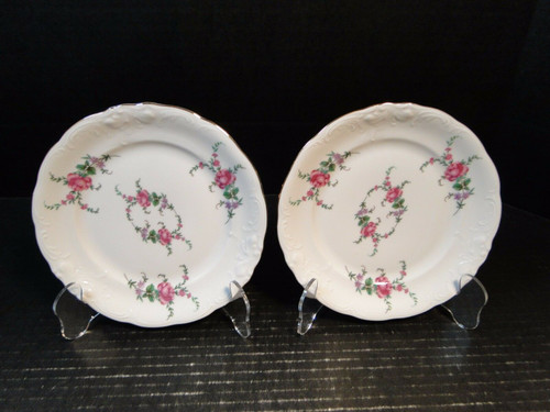 """Royal Kent Poland RKT3 Pink Roses Bread Plates 6 1/2"""" Set of 2 