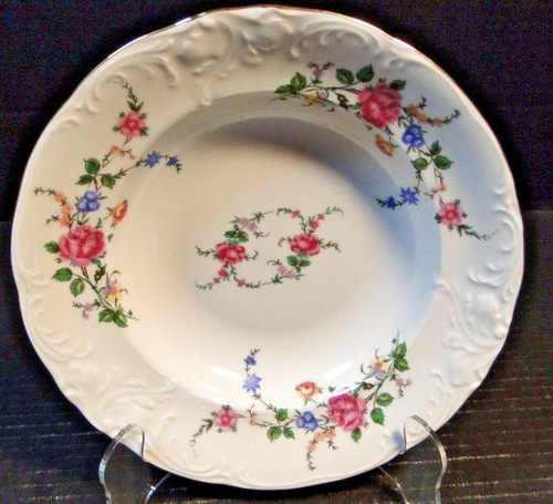 """Royal Kent Poland RKT3 Pink Roses Soup Bowl 8"""" 