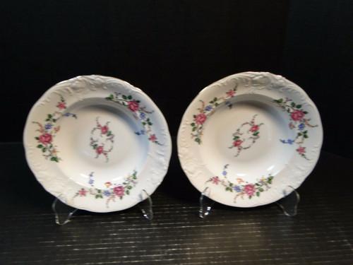 """Royal Kent Poland RKT3 Pink Roses Soup Bowls 8"""" Set of 2 Excellent"""