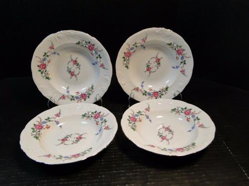 """Royal Kent Poland RKT3 Pink Roses Soup Bowls 8"""" Set of 4 Excellent"""