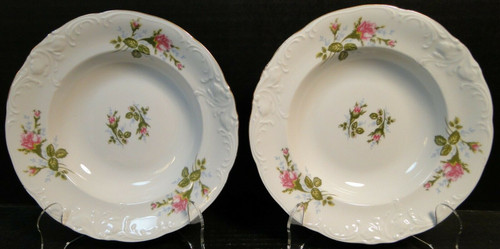 """Royal Kent Poland Moss Rose RKT8 Soup Bowls 8"""" Set of 2 