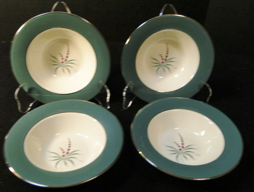"Homer Laughlin Cavalier Lupine Berry Bowls 6"" Green Band Set of 4 