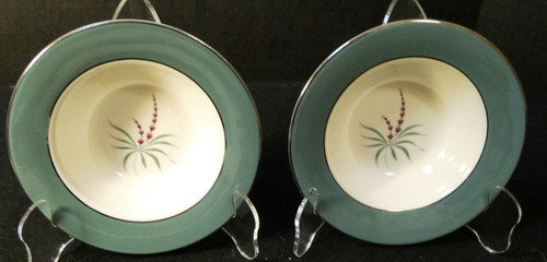"Homer Laughlin Cavalier Lupine Berry Bowls 6"" Green Band Set of 2 