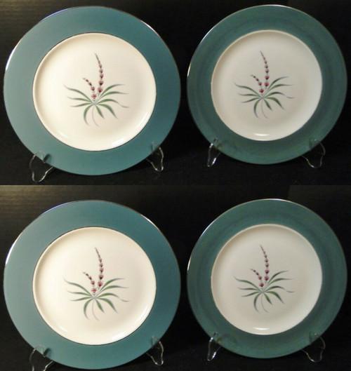 "Homer Laughlin Cavalier Lupine Dinner Plates 10 1/4"" Green Band Set 4 Excellent"