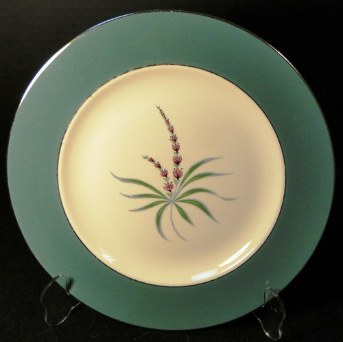 "Homer Laughlin Cavalier Lupine Dinner Plate 10 1/4"" Green Band Excellent"