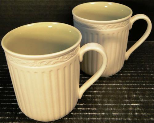 Mikasa Italian Sage Coffee Tea Cups Mugs DD911 White Green Set of 2 Excellent