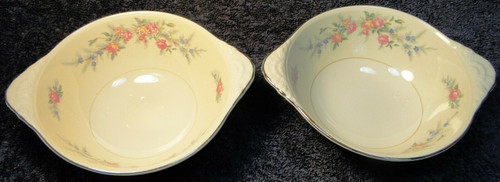 "Homer Laughlin Nautilus Ferndale Lugged Cereal Bowls 6 3/4"" Set of 2 Excellent"