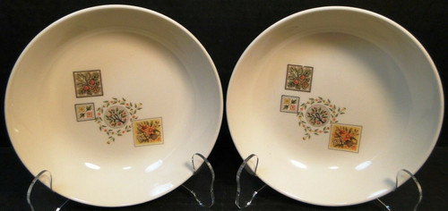 "Taylor Smith Taylor Brocatelle Cereal Bowls 6 3/4"" Ever Yours Set of 2 Excellent"
