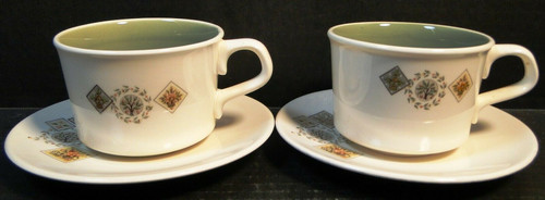Taylor Smith Taylor Brocatelle Tea Cup Saucer Sets Ever Yours 2 | DR Vintage Dinnerware and Replacements