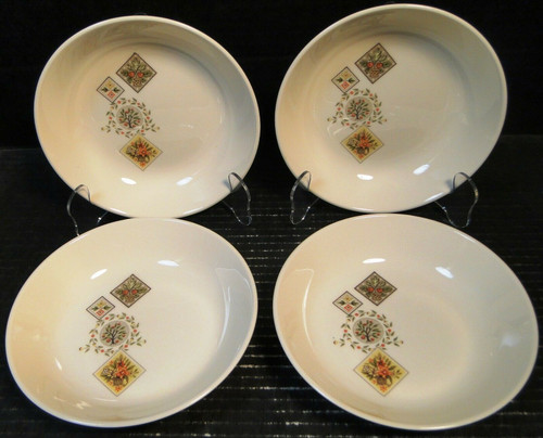 "Taylor Smith Taylor Brocatelle Cereal Bowls 6 3/4"" Ever Yours Set of 4 Excellent"