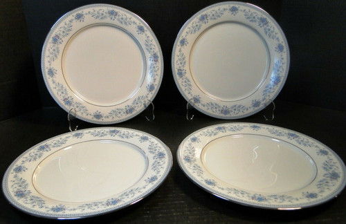 "Noritake Blue Hill Dinner Plates 10 1/2"" 2482 Blue Floral Set of 4 