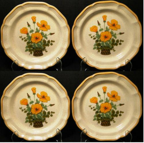 "Mikasa Petunias Salad Plates 8"" EC 401 Garden Club Set of 4 Excellent"