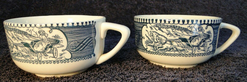 Currier Ives Royal China Blue and White Cups Set of 2 | DR Vintage Dinnerware and Replacements