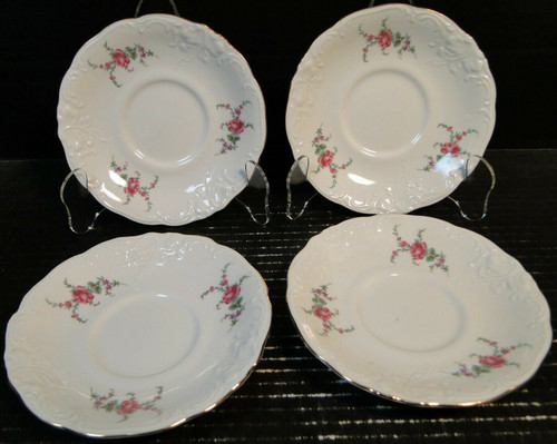 "Wawel Rose Garden Saucers 5 3/4"" Poland Set of 4 Excellent"
