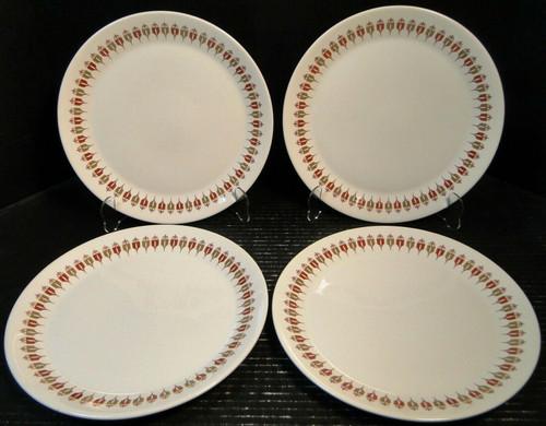 "Syracuse Captain's Table Dinner Plates 10 1/2"" Restaurant Ware Set 4 Excellent"