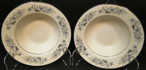 "Homer Laughlin Cavalier Berry Bowls 6"" CV125 Fruit White Floral Set 2 