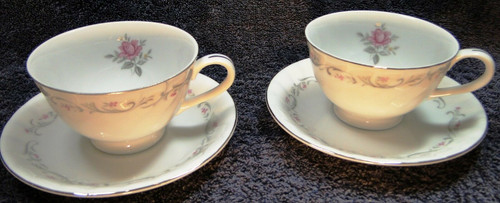 Fine China of Japan Royal Swirl Tea Cup Saucer Sets 2 | DR Vintage Dinnerware Replacements