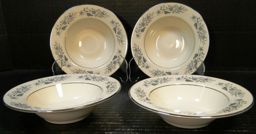 "Homer Laughlin Cavalier Berry Bowls 6"" CV125 Fruit White Floral Set 4 