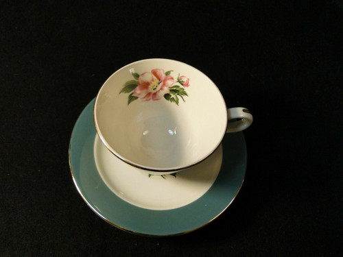 Homer Laughlin International China Empire Green Tea Cup Saucer Set Excellent