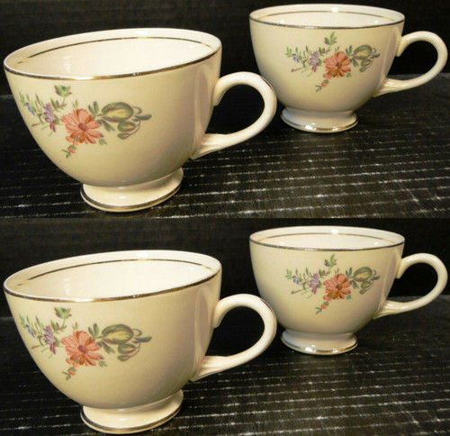 Household Institute Priscilla Tea Cups Eggshell Nautilus Set of 4 Excellent