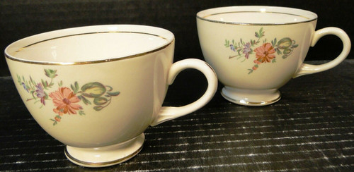 Household Institute Priscilla Tea Cups Eggshell Nautilus Set of 2 Excellent