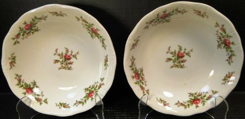 """Johann Haviland Bavaria Moss Rose Soup Bowls 7 1/2"""" Salad Set of 2 Excellent"""