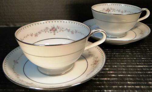 Noritake Fairmont Tea Cups Saucers 6102 Set of 2 Excellent
