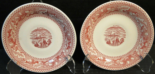 Royal China Memory Lane Pink Saucers NY Harbor View Ironstone Set of 2 | DR Vintage Dinnerware and Replacements