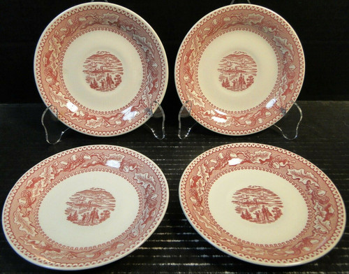 Royal China Memory Lane Pink Saucers NY Harbor View Ironstone Set of 4 | DR Vintage Dinnerware and Replacements