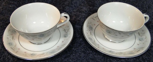 Fine China of Japan English Garden Footed Tea Cup Saucer Sets 1221 2 | DR Vintage Dinnerware Replacements