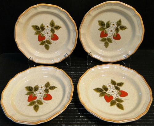 "Mikasa Strawberry Festival Salad Plates 8"" EB 801 Set of 4 Excellent"