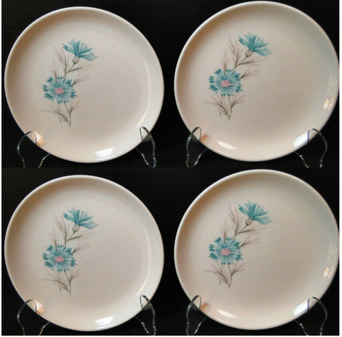 """Taylor Smith Taylor Boutonniere Bread Plates 6 3/4"""" Ever Yours Set 4 