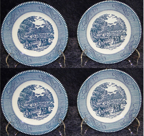 Royal China Currier Ives Blue White Bread Plates The Harvest Set of 4 | DR Vintage Dinnerware and Replacements