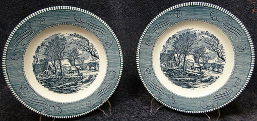 """Currier Ives Royal China Lunch Plates 9"""" Old Grist Mill Rare Set of 2 Excellent"""