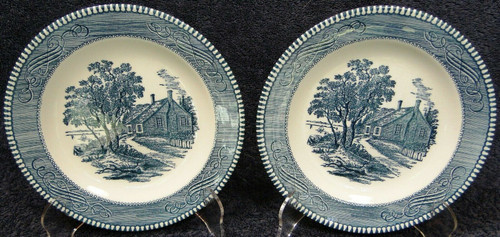 Royal China Currier Ives Salad Plates Washington's Birthplace Set of 2 | DR Vintage Dinnerware and Replacements