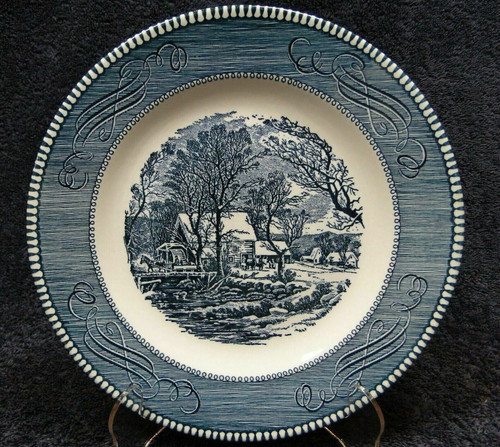 """Currier Ives Royal China Lunch Plate 9"""" Old Grist Mill Rare Excellent"""